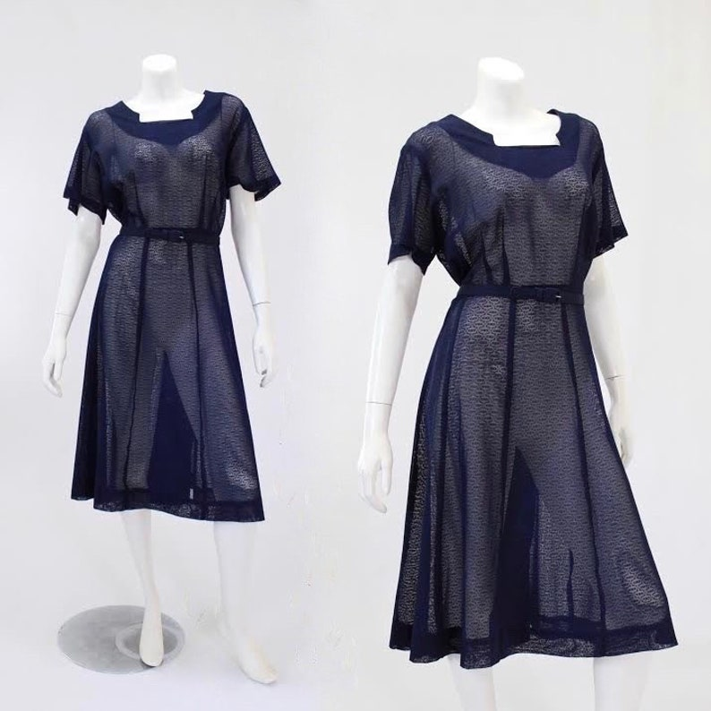 1950s Plus Size Dress - Deadstock Navy Blue Sheer Mesh Day Dress with  Original Belt & Matching Crop Jacket | Size Extra Large