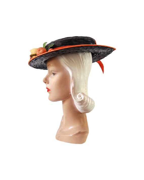 1940s Autumn Boater Hat - 1940s Navy Blue Hat - 1… - image 5