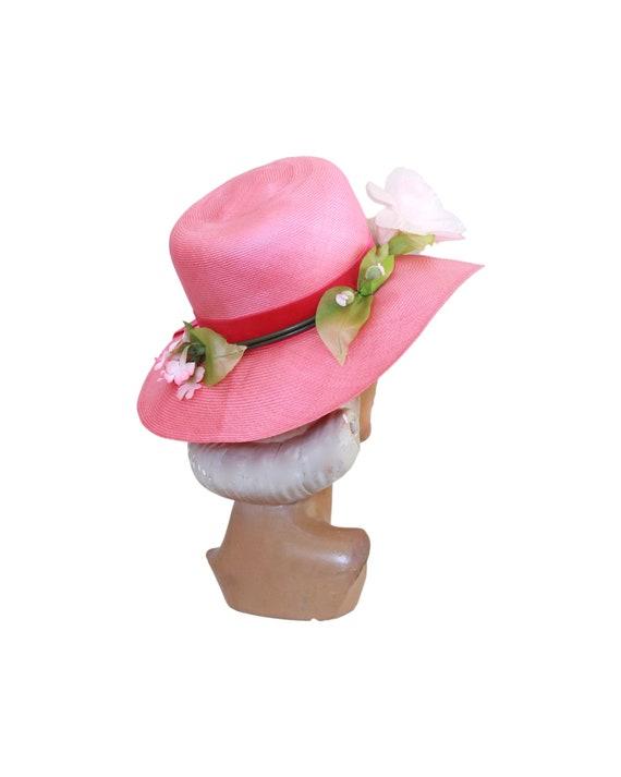 1960s Pink Straw Sun Hat - Vintage Pink Sun Hat -… - image 5