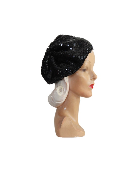 1970s Sequin Slouch Beret - 1970s Black Sequin Be… - image 4