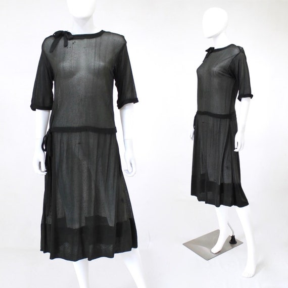 1920s Black Semi Sheer Dress - 1920s Black Georget