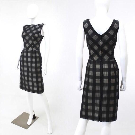 1950s Plaid Wiggle Dress - 1950s Black Plaid Dress
