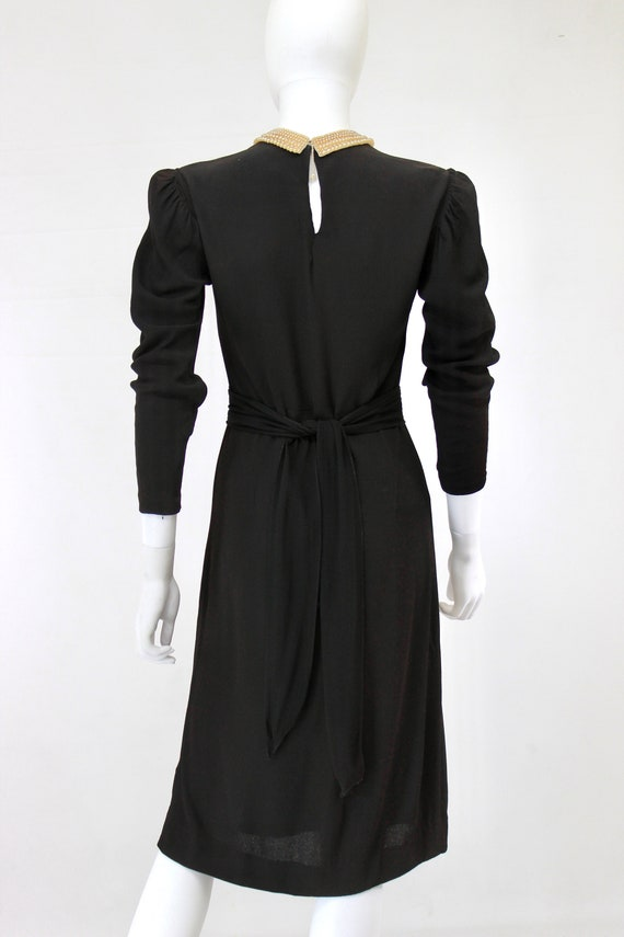 Late 1930s Black Crepe Dress with Pearl Collar - … - image 9