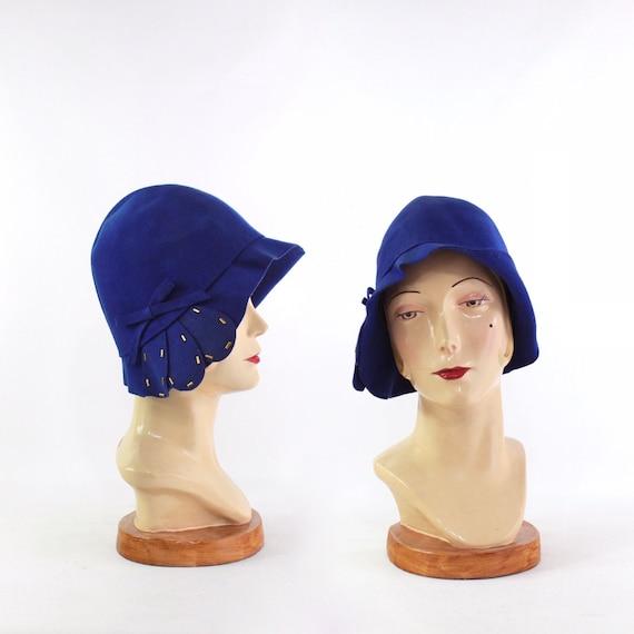 1920s Cobalt Blue Cloche Hat - 1920s Blue Cloche -