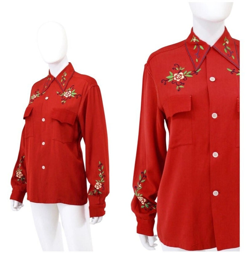 1940s Men's Shirts, Sweaters, Vests 1940S Holiday Red Embroidered Western Blouse - Gabardine Button Down 40S Gab  Size Large WomensMed Mens $148.00 AT vintagedancer.com