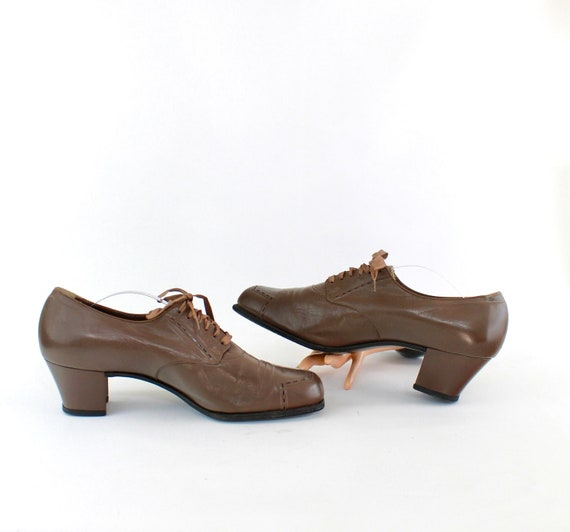 1940s Womens Brown Leather Oxford Shoes - 1940s Wo