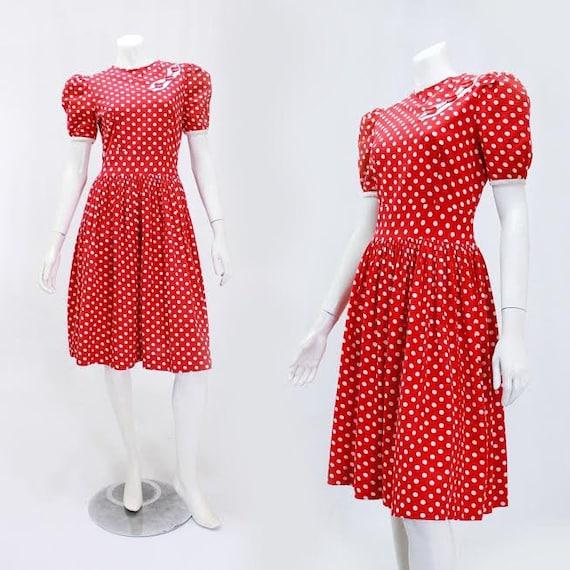 1930s Polka Dot Dress - 1930s Puff Sleeve Dress -… - image 1