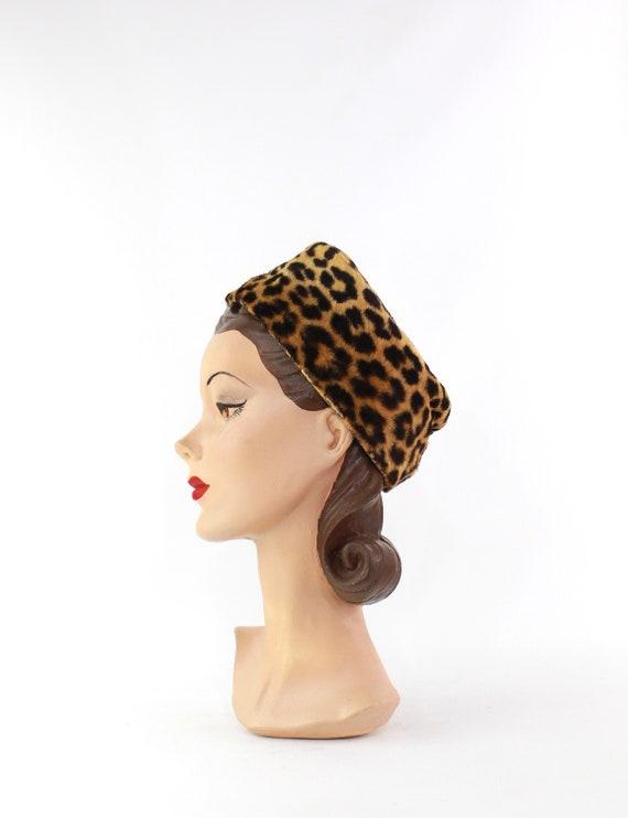 1960s Leopard Print Toque Hat - 1960s Leopard Pri… - image 6