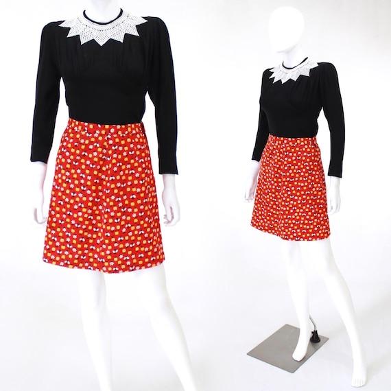 1970s Bumble Bee Novelty Print Skirt - Lady Bug No