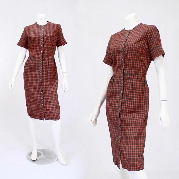 1950s Holiday Dress - 1950s Plaid Dress - 1950s Wi