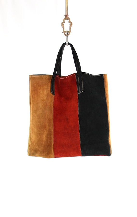 1970s Leather Suede Color Block Tote Purse - 1970s