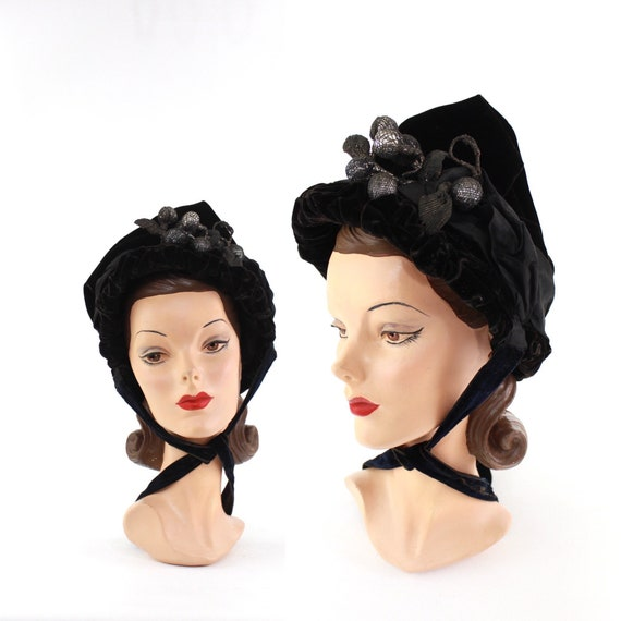 Victorian Bonnet with Silver Berries - 1800s Black
