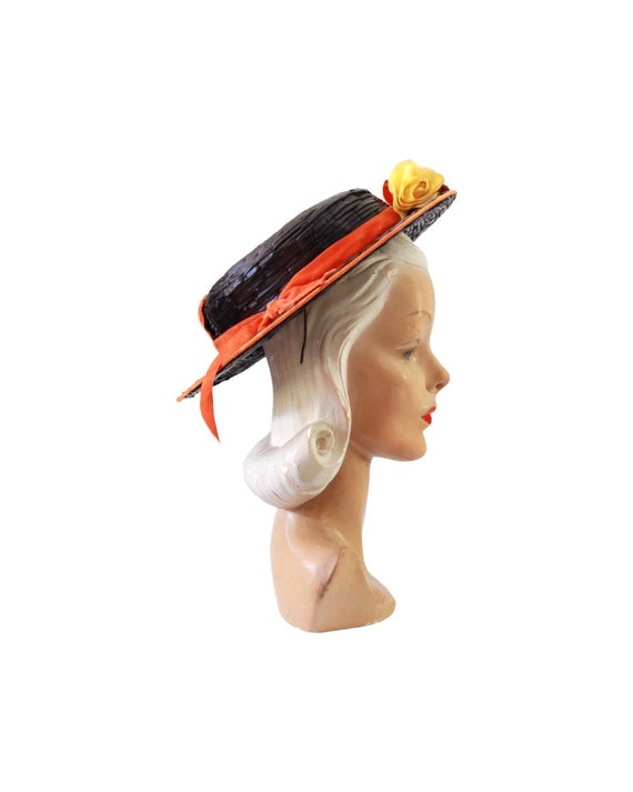 1940s Autumn Boater Hat - 1940s Navy Blue Hat - 1… - image 7