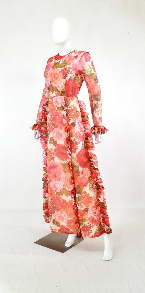 1970s Rose Print Ruffle Maxi Dress - 1970s Rose P… - image 8