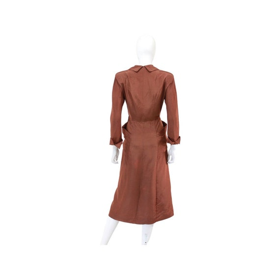 1940s Chestnut Brown Day Dress - 1940s Brown Dres… - image 9