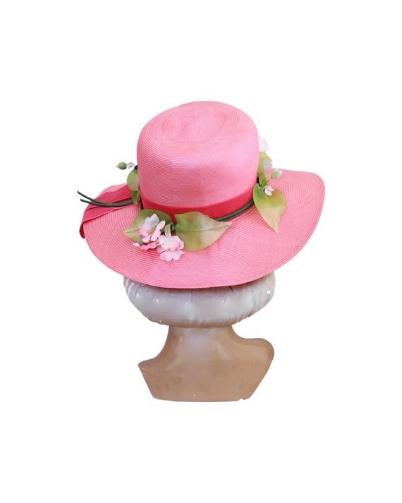 1960s Pink Straw Sun Hat - Vintage Pink Sun Hat -… - image 6