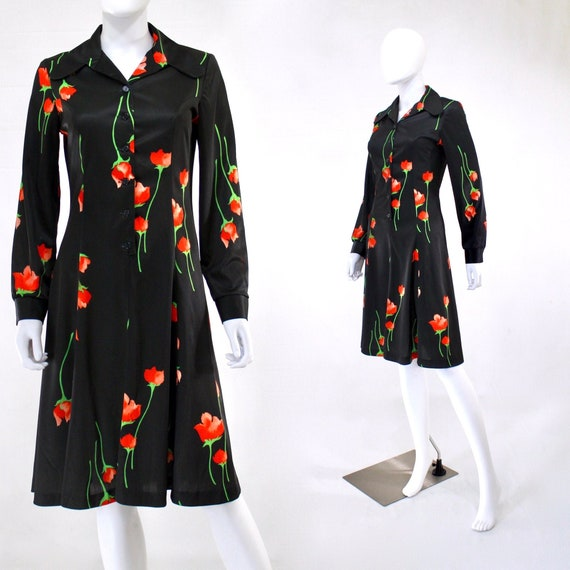 1970s Rose Print Dress - 1970s Red Rose Print Dres