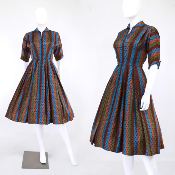 1950s Autumn Rainbow Stripe Fit & Flare Dress - 19