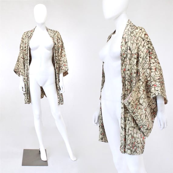 1930s Silk Haori - 1930s Abstract Print Haori - 19
