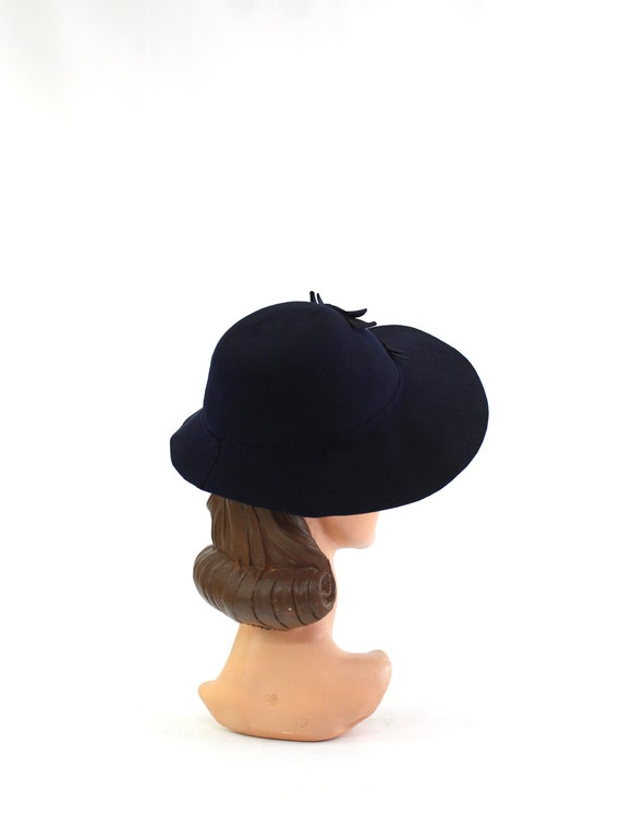 1940s Navy Blue Bonnet Fedora - 1940s Navy Blue F… - image 5