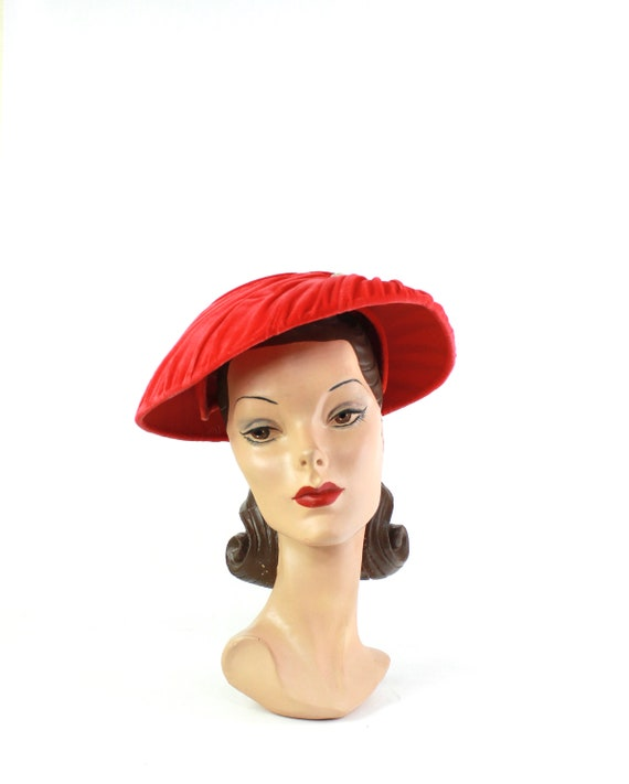 1950s Hot Coral Velvet Dish Hat - 1950s Dish Hat -