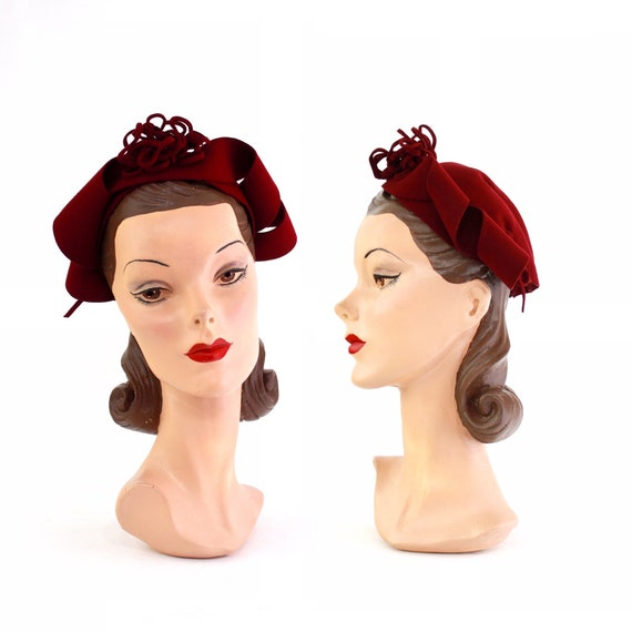 RESERVED |1940s Cranberry Red Calot - 1940s Cranbe