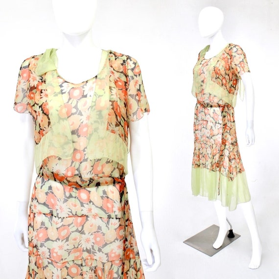 1920s Poppy Print Dress - 1920s Floral Print Dress