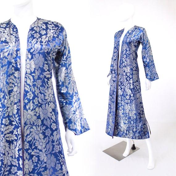 1960s Blue & Silver Lurex Evening Coat - Vintage E