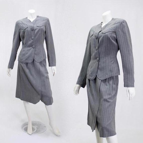 1940s Pinstripe Suit - 1940s Womens Suit - 1940s G
