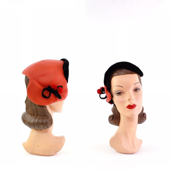 1940s Red & Black Curvette Cocktail Hat - 1940s Co