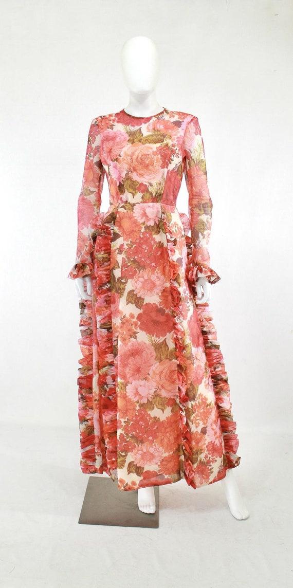 1970s Rose Print Ruffle Maxi Dress - 1970s Rose P… - image 2