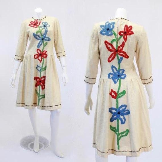 1940s Knit Dress - 1940s Crewel Dress - 1940s Ivor