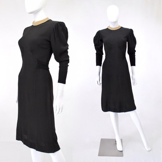 Late 1930s Black Crepe Dress with Pearl Collar - 1