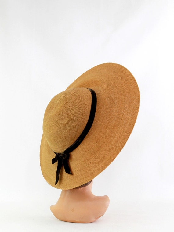 1940s Natural Straw Platter Sun Hat - 1940s Straw… - image 6