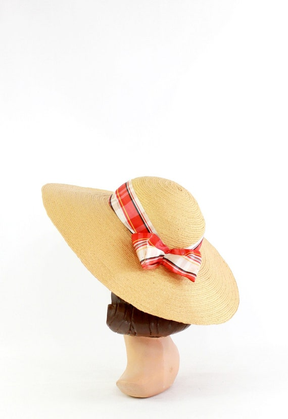 1940s Natural Straw - 1940s Cartwheel Sun Hat - 1… - image 5