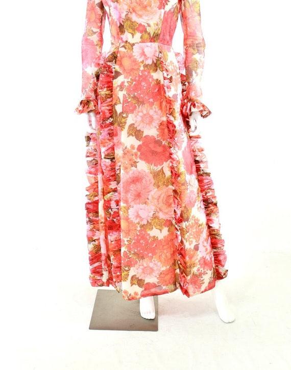 1970s Rose Print Ruffle Maxi Dress - 1970s Rose P… - image 4