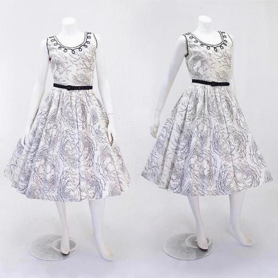 1950s Tree Print Dress - 1950s Fit & Flare - Fit a