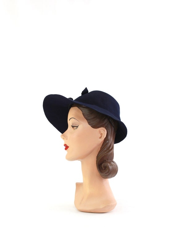 1940s Navy Blue Bonnet Fedora - 1940s Navy Blue F… - image 8