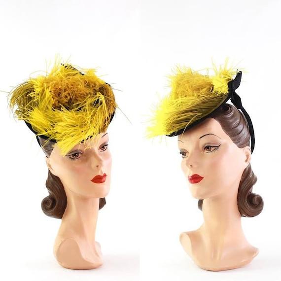 1940s Chartreuse Hat - 1940s Tilt Hat - Chartreuse