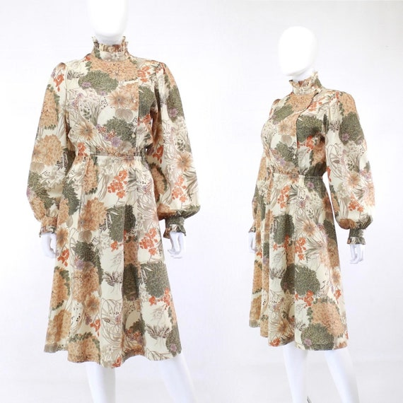 1970s Autumn Botanical Print Prairie Dress - 1970s