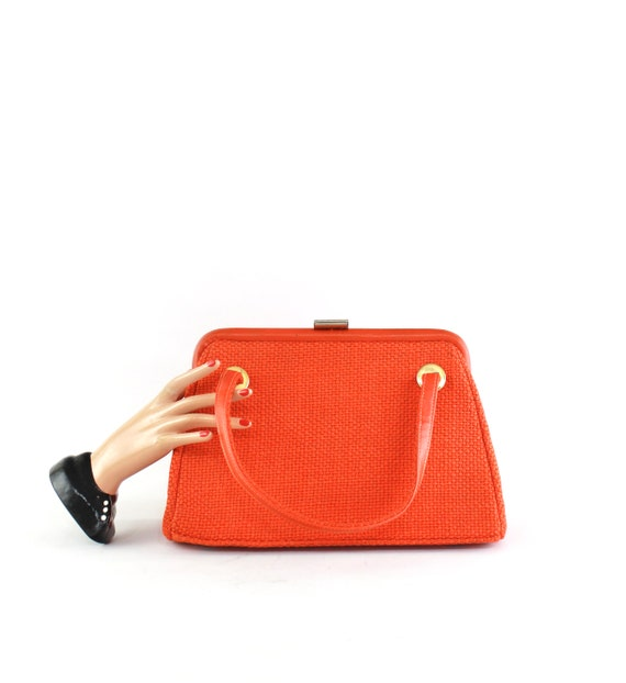 1960s Pumpkin Orange Purse - Vintage Orange Handba