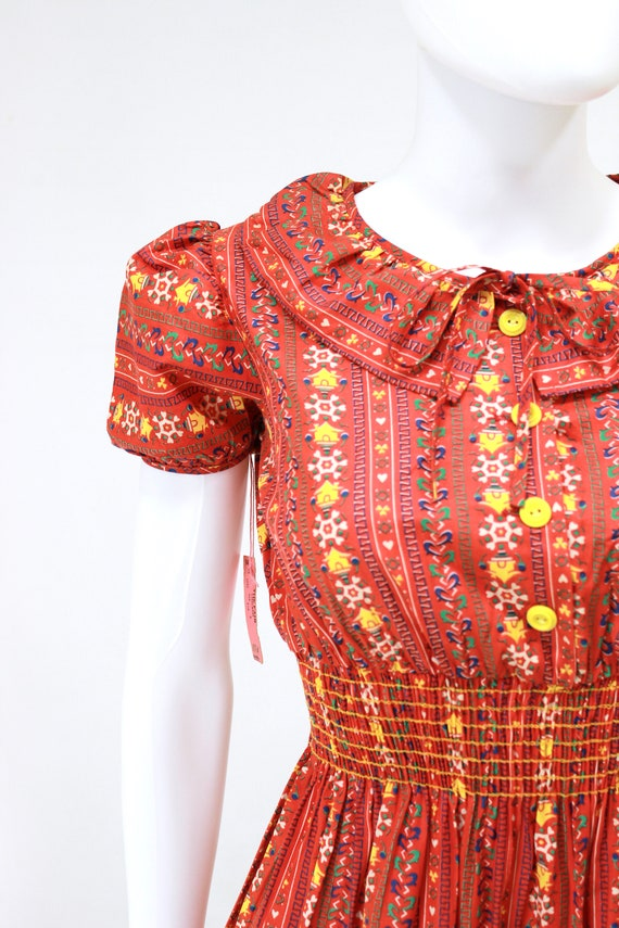 DEADSTOCK 1940s Puff Sleeve Dress - 40s Cotton Dr… - image 2