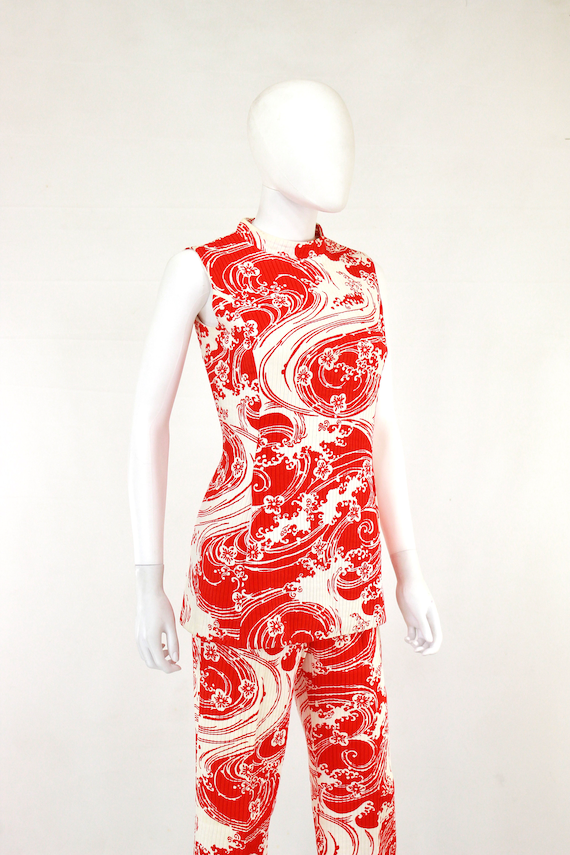 1960s Wave Novelty Print Pant Suit - 1960s Honeym… - image 7