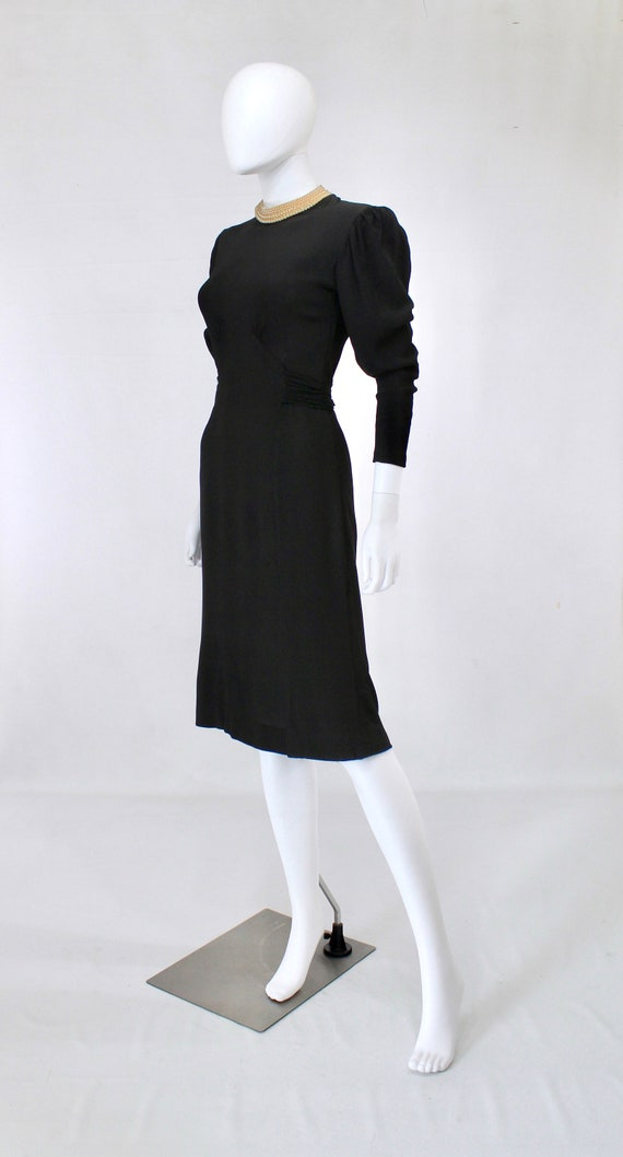 Late 1930s Black Crepe Dress with Pearl Collar - … - image 5