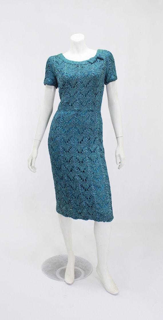 1950s Wiggle Dress - 1950s Teal Dress - 1950s Rib… - image 2