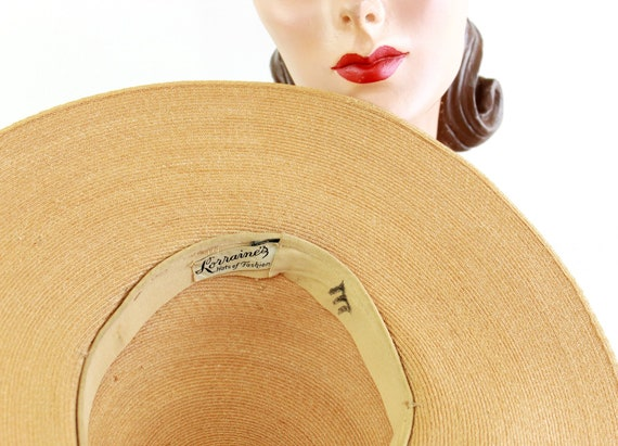 1940s Natural Straw Platter Sun Hat - 1940s Straw… - image 10
