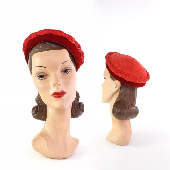 1950s Red Straw Tam Beret - 1950s Red Straw Hat -