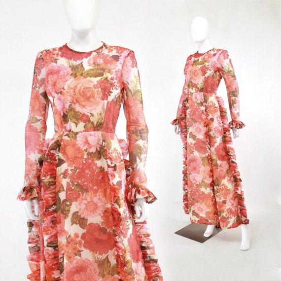 1970s Rose Print Ruffle Maxi Dress - 1970s Rose P… - image 1