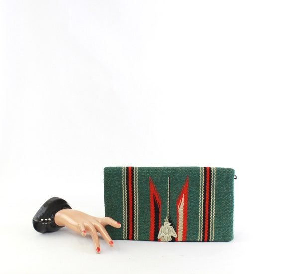 1940s Green & Red Chimayo Clutch Purse - 40s Chima