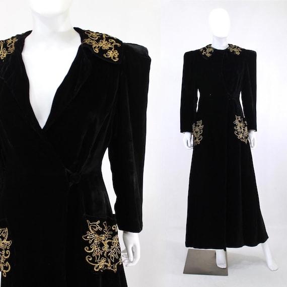 1930s Black Velvet Evening Coat with Gold Soutache